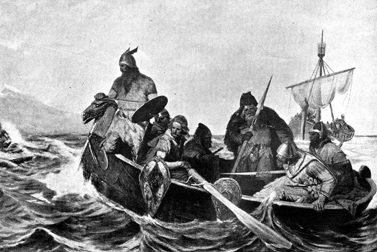 viking norse warriors in boat on sea