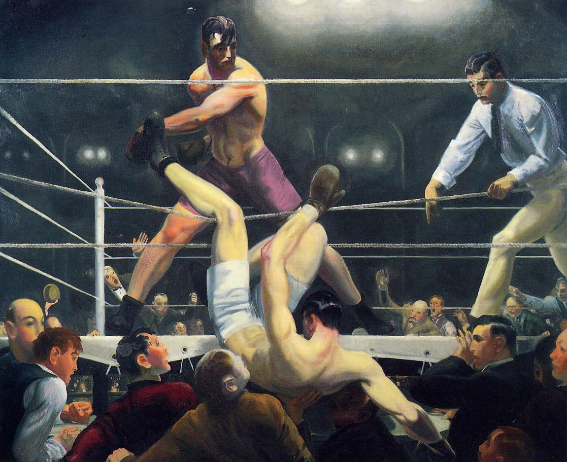 A painting of Dempsey and Firpo ring fighting.
