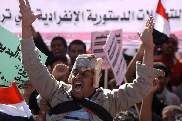 Man in egpytian strike revolution.