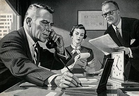 vintage illustration busy boss at desk taking notes on phone