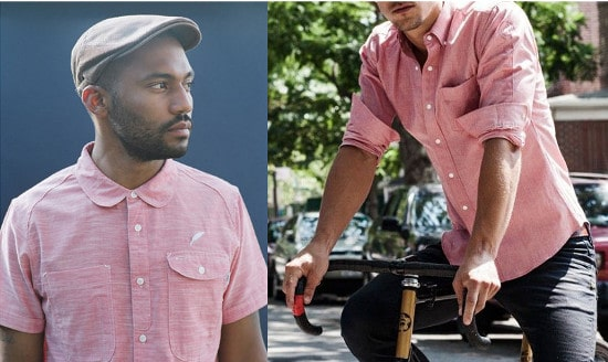 men wearing pink chambray button up shirts