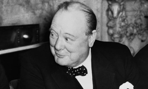 winston churchill looking to the side smirking
