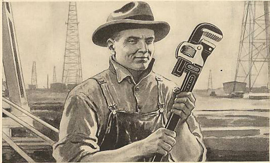 vintage illustration blue collar worker holding large wrench