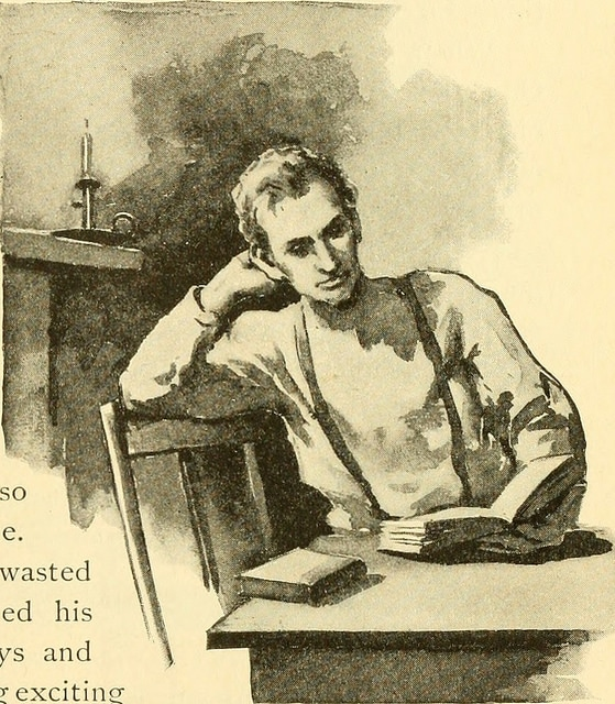 Young man reading book at table illustration.