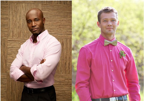 men wearing pink long sleeve button up shirts