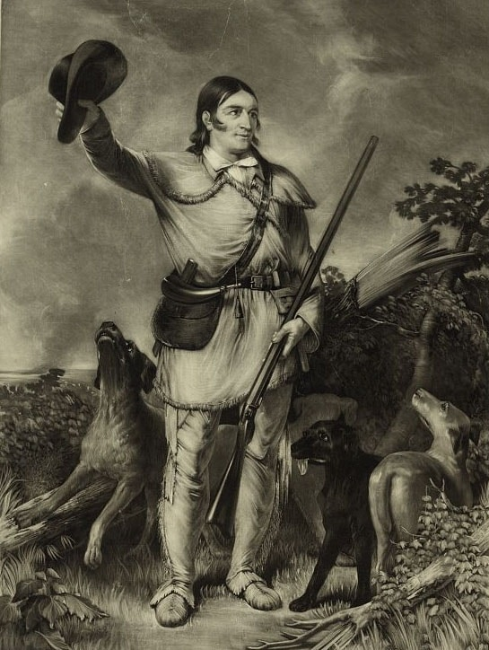 A painting of Davy Crockett with rifle in hand.