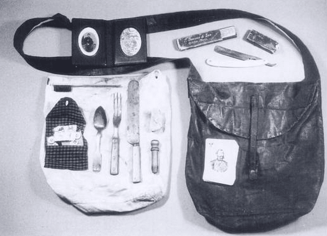 Contents of an infrantry man haversack from the civil war era.