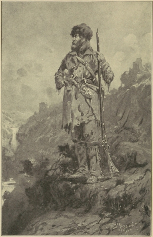 mountain man standing with coonskin hat and rifle
