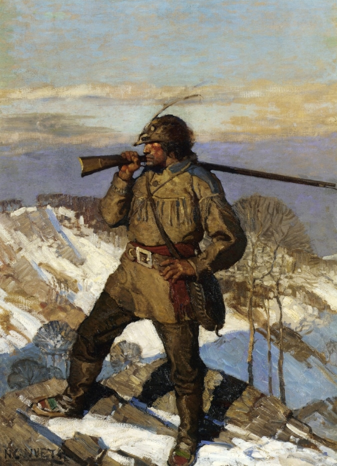 painting mountain man with gun over shoulder on mountaintop