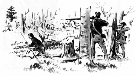 A men hunting in woods with rifles illustration.
