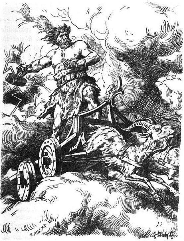 Thor riding on his goat drawn chariot illustration.