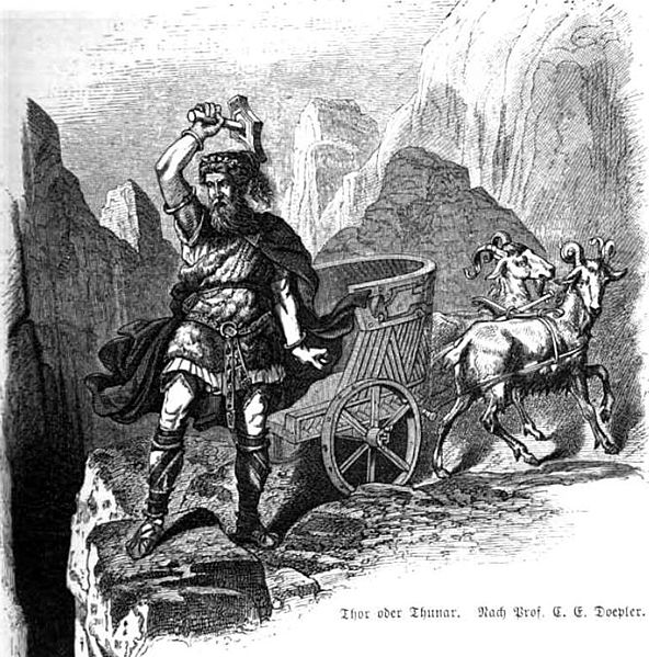 Thor on a mountain precipice with mjolnir and his chariot illustration.