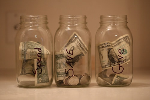 spend save give kids allowance jars