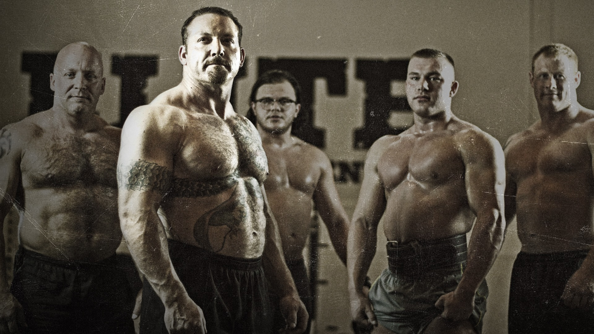 Group of men with great physique.