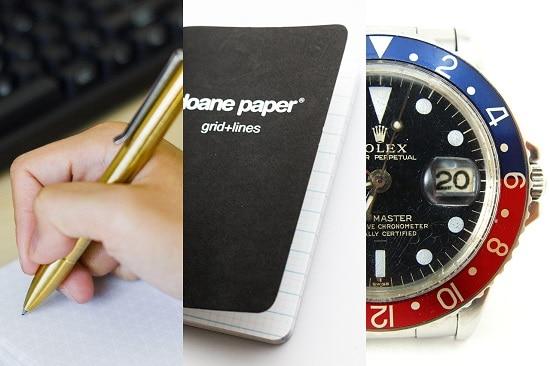 edc - pen notebook watch