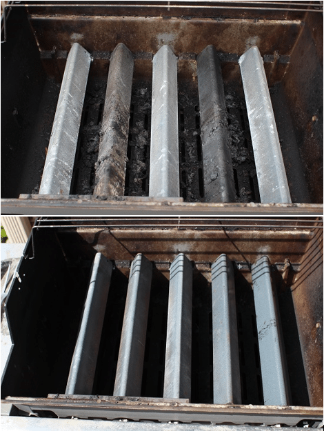 Before and after of cleaning. You'll notice the burners are cleaned up, and you won't notice any chunks on the bottom in the after picture. Throw the grates back on, and you're set for another few months of grilling!