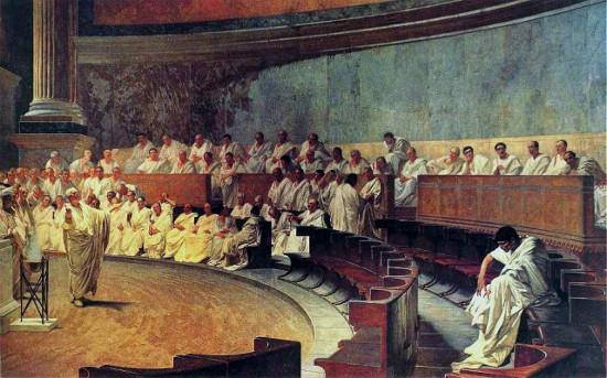 painting of senate meeting in rome