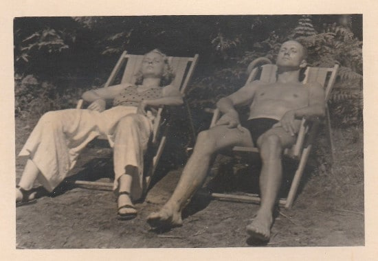 vintage sunbathers lounging in chairs