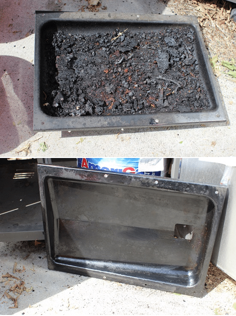 Before and after of the removable tray. Some of it will be loose, but some will probably need to be scraped off. I also used the sponge here to get at lease of that grease and grime off. It's not perfect, but are grills really supposed to be spotless?