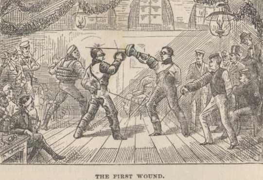 vintage illustration men fencing