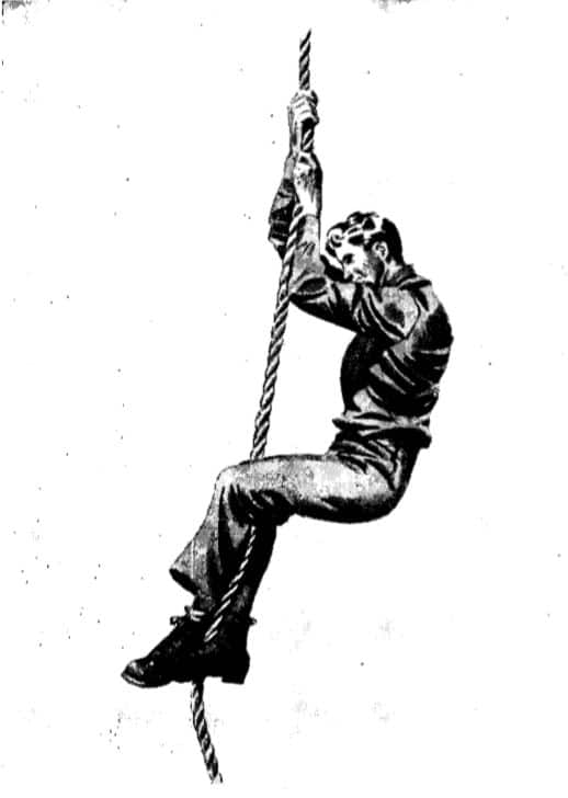 Vintage WWII illustration climbing rope.
