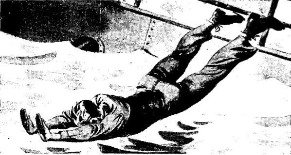 Vintage WWII diving from ship illustration.