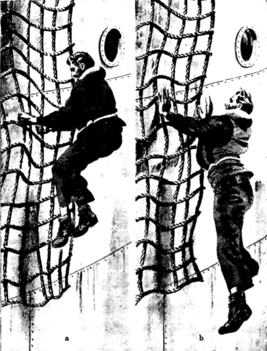 vintage wwii jumping from cargo net