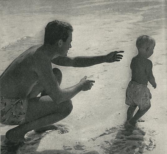 vintage father child on beach