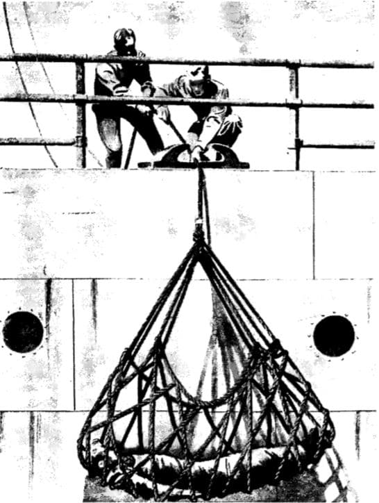 Vintage WWII illustration ship survivors net.