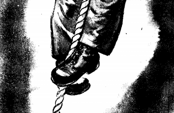 Vintage WWII illustration climbing rope brake grip.