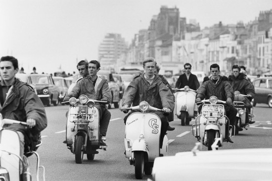 vintage 1950s 1960s young men on scooters