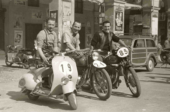 vintage men motorcycle and scooter