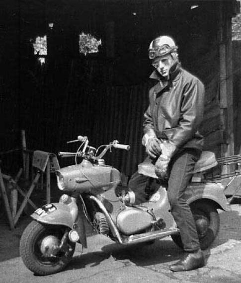 Vintage man scooter.