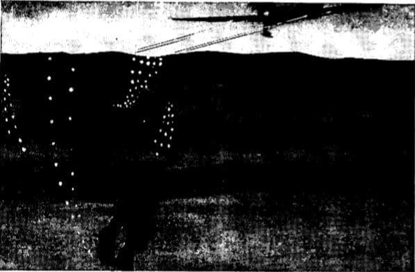 Vintage WWII submerging illustration.