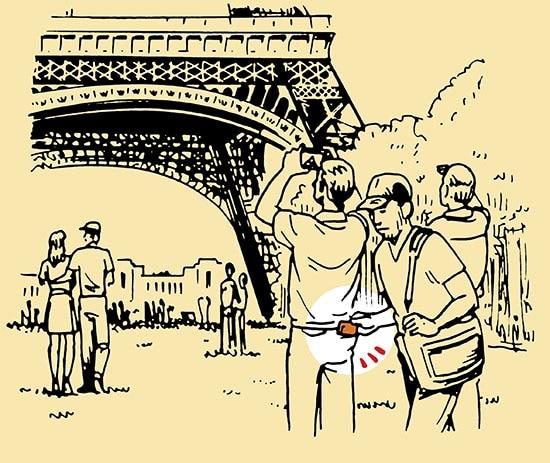 pickpocket eiffel tower illustration