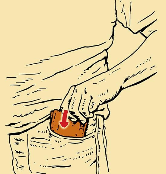 Front Pocket wallet pickpocket illustration.
