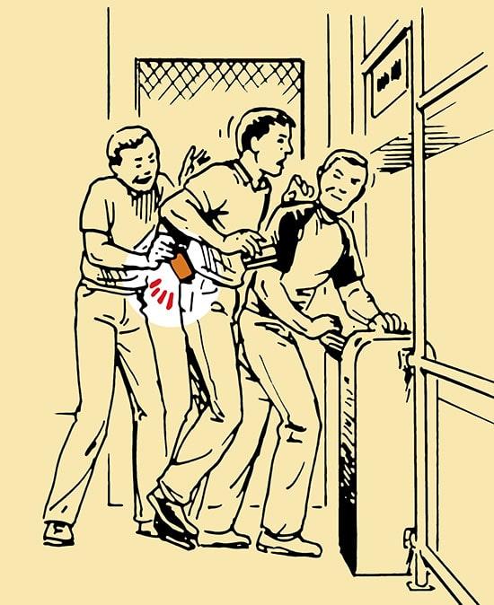 Pickpocket trick turnstiles subway illustration.