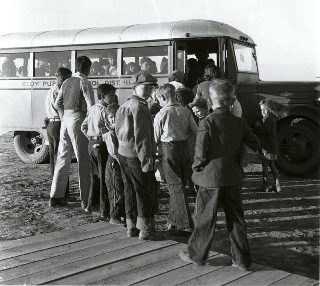 vintage 1940s 1950s boys going to school bus