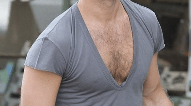 V-neck t-shirt, too deep, too low, man cleavage.