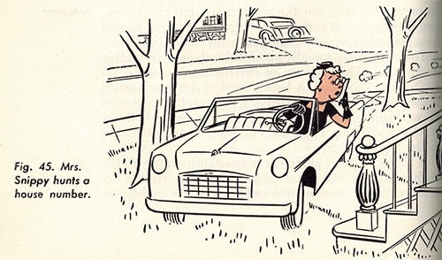 old woman driving on lawn vintage illustration