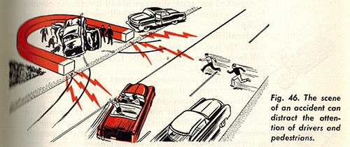 car accident driving manaul vintage illustration