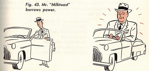 man compensates for power with car vintage illustration
