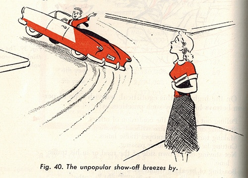 vintage illustration car driving manual