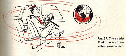 vintage illustration man in suit driving car