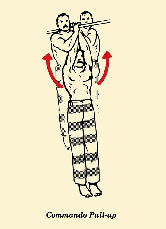 Illustration commando pull-up, prisoner workout, body weight exercises, convict conditioning.