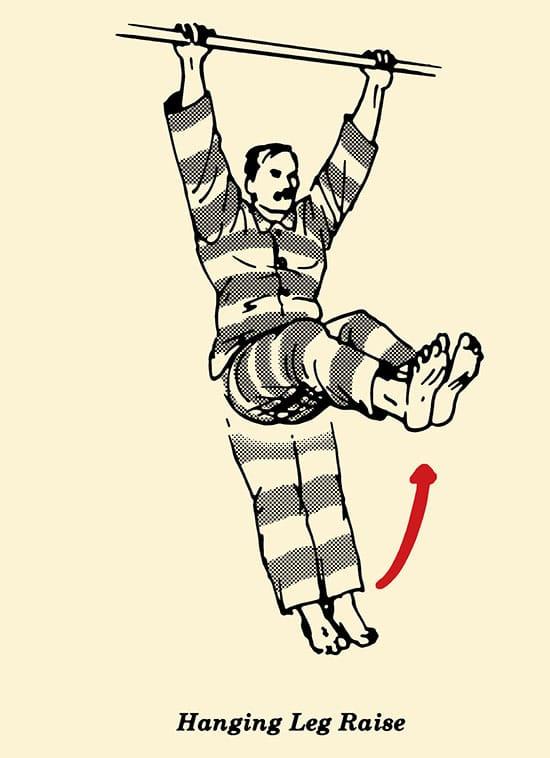 Illustration, hanging leg, prisoner workout, convict conditioning, body weight exercises.