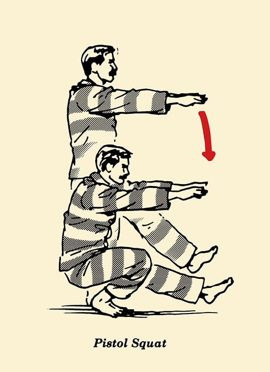 Pistol squat, prisoner workout, body weight exercises, convict conditioning, illustration.