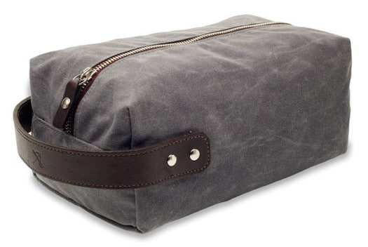 Waxed canvas dopp kit groomsmen gift.