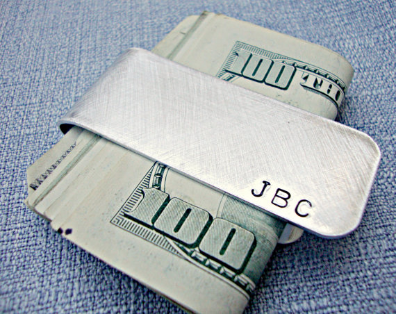 customized monogrammed silver money clip