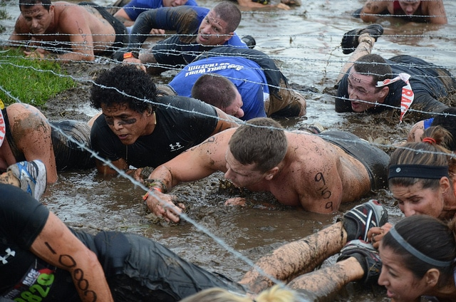 Spartan race barbed wire crawl.